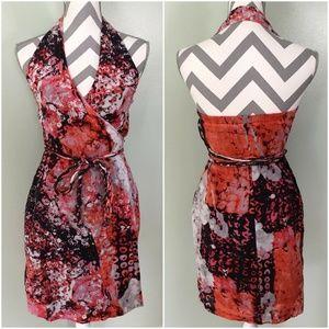 BANANA REPUBLIC Red Pink Black Floral Wrap Dress